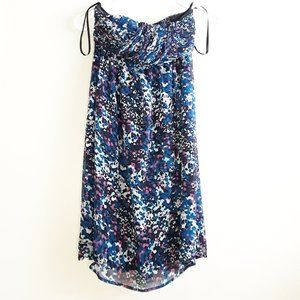 Jacob blue pink floral chiffon strapless dress
